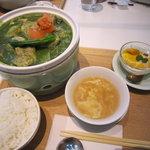一茶一坐 - ほうれん草と鶏もも肉の健康BAOランチセット