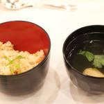 神戸ポートピアホテル - お祝い鯛ご飯、鴨団子入り吸物