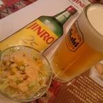 スパイス・キッチン - 生ビール・サラダ。