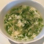 69014587 - あおさ海苔と豆腐入りふかひれスープ