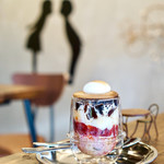 珈琲焙煎所 旅の音 - コーヒーゼリーパフェ¥690 焼きマシュマロ追加¥150