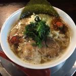 ラーメン ヤスオ - ラうどん(太麺) 130グラム ニンニクショウガ 700円