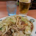 日高屋 - 肉野菜炒め&生ビール2017.6.12
