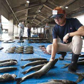 仲買人の主人が目利きで直接魚を仕入れ