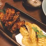 つくよみ 離れ - 香味手羽と玉蜀黍の天ぷら(^^)