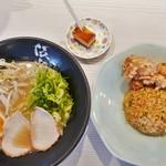 伍光 - 炒飯セット(白湯ラーメン)750円
