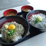 田子の浦港 漁協食堂 - 二連ドンブリ