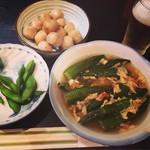 居酒屋知好楽 - 里芋煮っころがし、オクラの卵とじ煮、枝豆