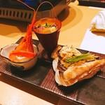 69075460 - 昆布森産シマエビ、水茄子の出汁ジュレ、イサキ味噌焼き
