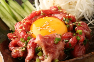がんばれニッポン馬肉道場 馬喰ろう - 是非食べて頂きたい桜ユッケ!絶品です♪