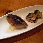 ほむら - 自家製〆鯖の半燻製と秋刀魚薬味挿み焼。