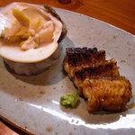 ほむら - 蛤の貝焼と焼穴子。