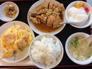 日光 翠園 - 油淋鶏と海老と卵の塩炒め定食