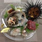 リストランテ マツシマ - カルパッチョ:サザエ、鮑、アラ、イサキ、鮪、ムラサキウニをオリーブオイルと醤油で