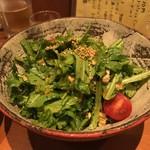 料理屋 月光 - 鶏と菊菜のサラダ