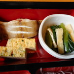 旬菜‐小豆 - 柳カレイ焼き、青菜ひたし、玉子焼き