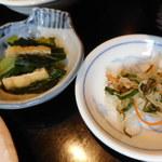 旬菜‐小豆 - 青菜ひたし、千切り野菜の浅漬け
