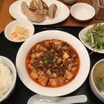シネマカフェ - 麻婆豆腐定食+焼餃子