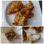 69128288 - ◆骨なしモモ肉・・下味は薄味ですがよく浸みているそう。 鶏肉も柔らかく美味しいそうな。