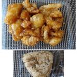 69128297 - ◆上:皮の甘酢・・揚げた「皮」に甘酢をかけてあります。 一切れ頂きましたが少しピリ辛で甘酢の塩梅もよく、ツマミにいいですね。 ◆下:鶏おにぎり・・お味は普通だそう。