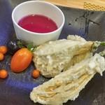 LBK CRAFT - 白ナスの果肉は甘くてしっかり。紫蘇ポン酢と良く合ってます。
