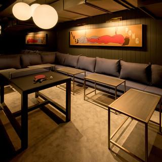 大小個室完備!寛げるソファ席で卓球&お食事を楽しむ♪