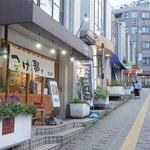 つけ麺屋 五三郎 - 店入口(駅寄り側から撮影)