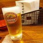 丸万焼鳥 - 2017年5月 生ビール中【570円】