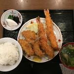 ときわ食堂 - 海老フライ+アジフライ+定食+タルタル1530円