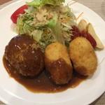 辰五郎 - ハンバーグステーキと海老クリームコロッケ