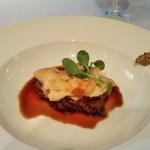 銀座清月堂 - [料理] 黒毛和牛フィレ肉の網焼きと馬鈴薯のグラタン 全景♪w