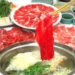 つきじ植むら - 3種肉しゃぶしゃぶ食べ放題  牛ロース肉と牛カルビ肉、豚ロース肉、  野菜盛り、お食事お替り自由