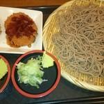 路麺えんそば - 今日のセット、中ざるそば、かき揚げ、コロッケ(税込計710円)(2017.6)