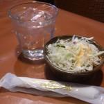 ルソイ - ・サラダと水とオシボリ