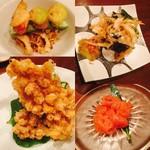 中島康三郎商店 - 空豆と牛蒡の素揚げ、白えびのかき揚げ、明太子、とうもろこしかき揚げ(左上より時計周り)