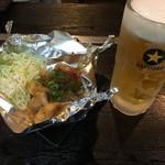 ダイニングキッチン 煖 - 料理写真:生ビール&ホルモン(タレ)