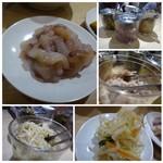 天麩羅処ひらお - ◆「ひらお」と言えば食べ放題のお総菜ですね。 烏賊の塩辛が定番の人気ですけれど、他にも「もやしナムル風」「かぼちゃの煮物」「高菜」など3種類ありました。