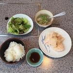 焼肉のんき - 塩ホソ ランチ ¥750  +ミニ肉すい ¥350