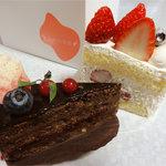 ダンジュ - ダンジュ(ショートケーキ)550円、数量限定プレミアチョコケーキ~ラズベリー~500円