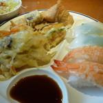 レストランかもしま - 天ぷら5種寿司2種4貫