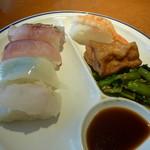 レストランかもしま - 寿司えび、いか、はまち他2種計5貫絹厚揚げ、青菜炒め