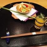 69254455 - ウニ豆腐とオレンジジュース