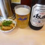 天下一品 - 瓶ビールとネギメンマ
