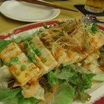 ぐるぐるDining - お豆腐のピリ辛サラダは食べごたえあり。