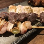 炭火焼鳥 西田屋 - ねぎま 砂ずり 鶏柚子胡椒