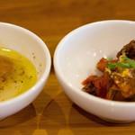 アンティカブラチェリアベッリターリア - キャベツのスープ からすみパウダー入りと黒毛和牛でした!