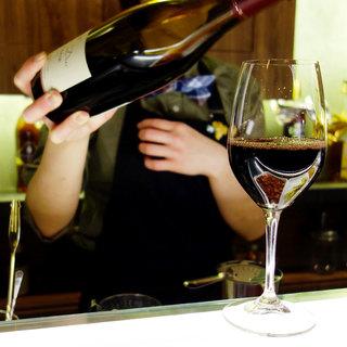 """気軽に""""立ち飲みワイン""""はいかが?グラス一律500円!"""