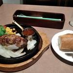 ラシーン - [料理] 手こね石焼ハンバーグ & パン 全景♪w
