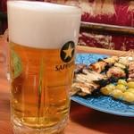 鳥ぎん - 生ビールと串焼