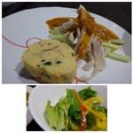 平和樓 - ◆前菜2種・・中華風玉子焼きと棒棒鶏。棒棒鶏のゴマダレがいい味わい。玉子焼きは薄味。